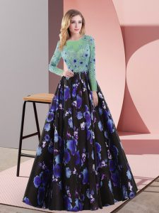Sexy Printed Long Sleeves Prom Evening Gown Sweep Train and Appliques
