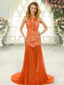 Scoop Sleeveless Prom Gown Brush Train Lace Orange Red Chiffon