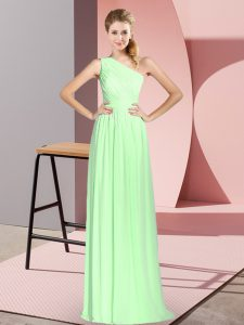 Sleeveless Ruching Floor Length Prom Gown