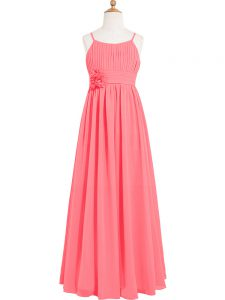 Sleeveless Floor Length Pleated and Hand Made Flower Zipper Prom Dress with Watermelon Red