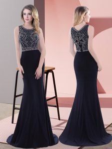 Sexy Navy Blue Sleeveless Chiffon Sweep Train Zipper Prom Dresses for Prom and Party and Military Ball