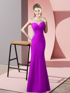 Scoop Sleeveless Satin Homecoming Dress Beading and Pick Ups Sweep Train Zipper