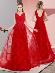 Red A-line V-neck Sleeveless Lace Sweep Train Lace Up Beading Prom Party Dress