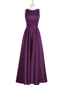 Deluxe Eggplant Purple Sleeveless Ruching and Pleated Floor Length Dress for Prom