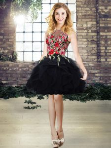 Stunning Black Organza Lace Up Scoop Sleeveless Mini Length Homecoming Dress Embroidery and Ruffles