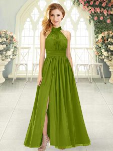 Halter Top Sleeveless Prom Party Dress Ankle Length Ruching Olive Green Chiffon