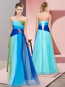 Sleeveless Floor Length Beading Lace Up Prom Gown with Multi-color