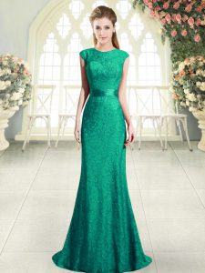 Elegant Turquoise Scoop Neckline Beading and Lace Evening Dress Cap Sleeves Backless