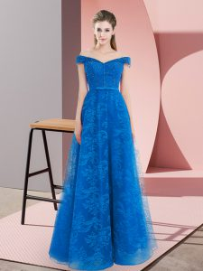 Blue Lace Up Off The Shoulder Sleeveless Floor Length Dress for Prom Beading