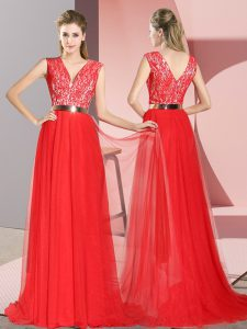 Sleeveless Beading and Lace Zipper Prom Dresses with Red Sweep Train