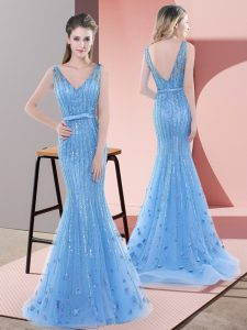 Baby Blue Sleeveless Beading and Sequins Backless Prom Gown