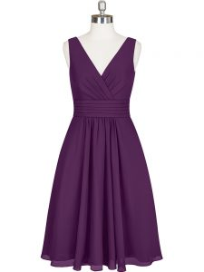 Sleeveless Knee Length Pleated Zipper Prom Dress with Purple