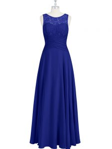 Royal Blue Zipper Prom Gown Lace and Pleated Sleeveless Floor Length