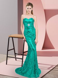 Superior Sequined Sleeveless Prom Party Dress Sweep Train and Beading