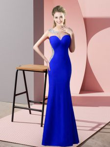 Great Royal Blue Satin Zipper Prom Dress Sleeveless Floor Length Beading and Pick Ups