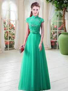 Fancy A-line Prom Dress Green High-neck Cap Sleeves Floor Length Lace Up