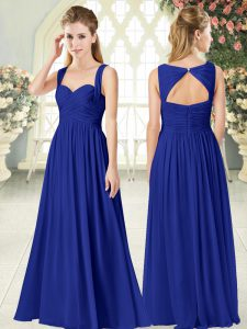 Royal Blue Sleeveless Chiffon Zipper Dress for Prom for Prom and Party