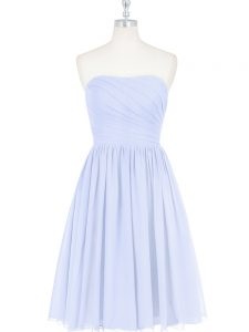 Chiffon Sleeveless Knee Length Dress for Prom and Ruching and Pleated