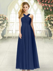 Free and Easy Navy Blue Empire Straps Sleeveless Chiffon Floor Length Zipper Ruching