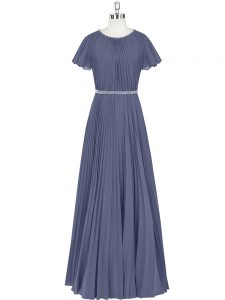 Vintage Scoop Short Sleeves Zipper Prom Gown Blue Chiffon