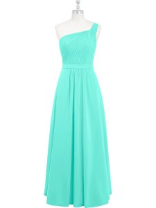 Sleeveless Zipper Floor Length Ruching Dress for Prom