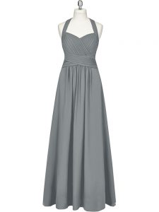 Deluxe Chiffon Halter Top Sleeveless Zipper Ruching Homecoming Dress in Grey