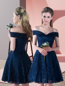 Mini Length Navy Blue Prom Dress Off The Shoulder Sleeveless Lace Up