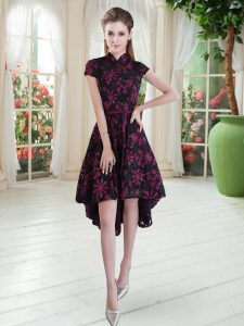 Pink And Black Zipper High-neck Appliques Prom Party Dress Lace Short Sleeves