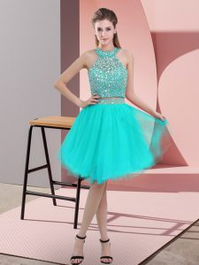 Charming Turquoise Backless Prom Evening Gown Beading Sleeveless Knee Length