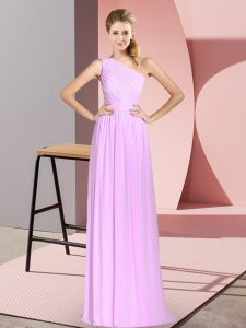 Best Selling Lilac Chiffon Lace Up Prom Gown Sleeveless Floor Length Ruching