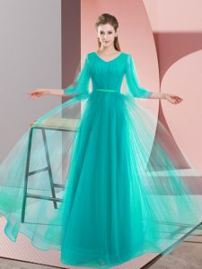 Best Turquoise Long Sleeves Tulle Lace Up Prom Gown for Prom and Party and Military Ball