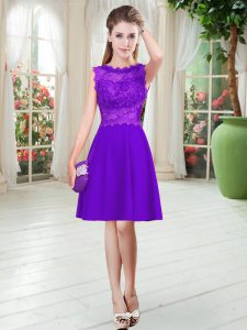 Decent Purple Sleeveless Satin Zipper Evening Dress for Prom and Party