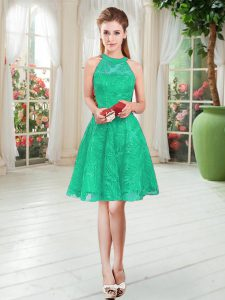Enchanting Sleeveless Knee Length Zipper Prom Dresses in Turquoise with Lace