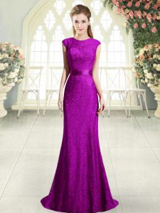 Glamorous Eggplant Purple and Purple Dress for Prom Sweep Train Sleeveless Beading and Lace