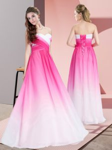 Fabulous Floor Length Empire Sleeveless Pink And White Celebrity Prom Dress Lace Up