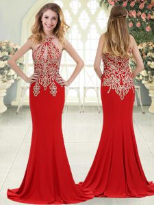 Exquisite Red Sleeveless Sweep Train Beading and Lace Dress for Prom