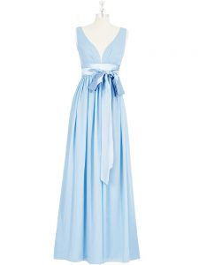 Fashion Baby Blue Prom Dress Prom and Party and Military Ball with Ruching and Bowknot V-neck Sleeveless Backless