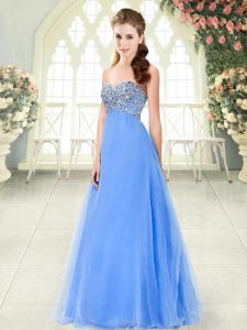 Sumptuous Floor Length Blue Homecoming Dress Sweetheart Sleeveless Lace Up