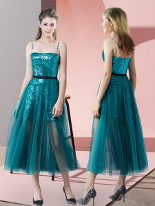 Teal Evening Dress Prom and Party with Sequins Spaghetti Straps Sleeveless Zipper