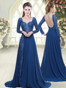 Designer Blue Sweetheart Zipper Beading and Lace Dress for Prom Sweep Train Long Sleeves