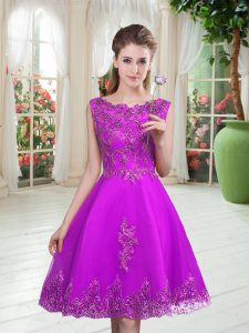 Scoop Sleeveless Lace Up Prom Evening Gown Purple Tulle