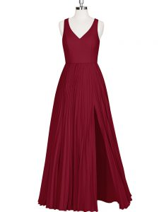 Amazing Wine Red Sleeveless Pleated Floor Length Prom Dress