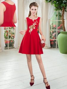 Extravagant Red Scoop Neckline Appliques Prom Dresses Sleeveless Zipper