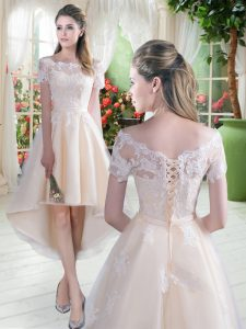 Smart High Low A-line Short Sleeves Champagne Lace Up