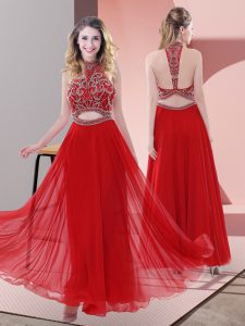 Ankle Length Backless Prom Dresses Red for Prom and Party with Beading