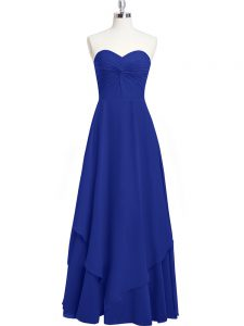 Royal Blue Empire Pleated Prom Dress Zipper Chiffon Sleeveless Floor Length