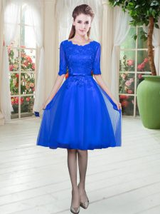 Dazzling Royal Blue Lace Up Scoop Lace Prom Gown Tulle Half Sleeves
