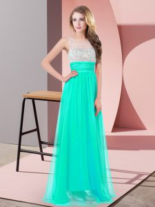 Custom Fit Turquoise Prom Dresses Prom and Party with Sequins Scoop Sleeveless Side Zipper
