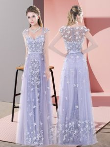 Custom Design Floor Length Zipper Evening Dress Lavender for Prom and Party with Beading and Appliques
