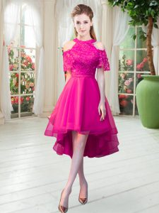 Attractive High Low Zipper Hot Pink for Prom and Party with Lace